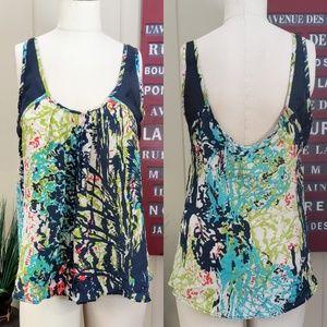 Jaloux   S Silk low back floral print tank top